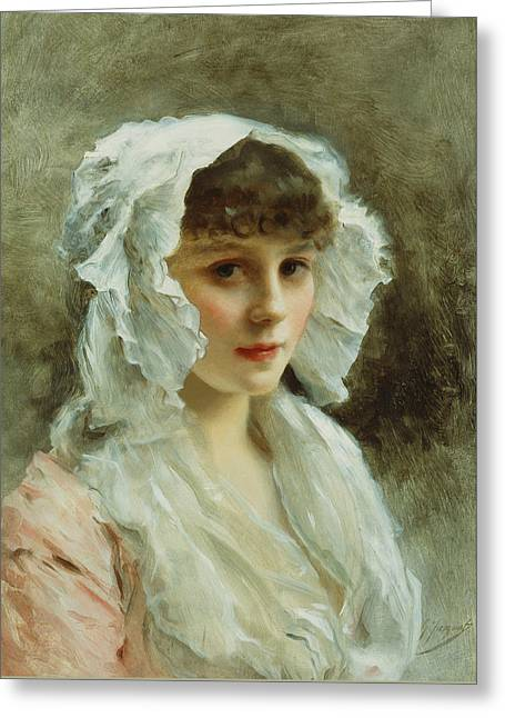 Portrait Of A Lady In A White Bonnet Greeting Card by Gustave Jean Jacquet