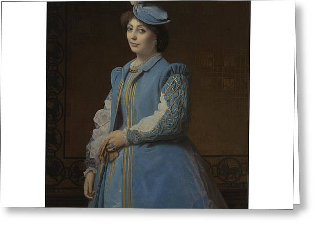 Portrait Of A Lady In Blue Greeting Card