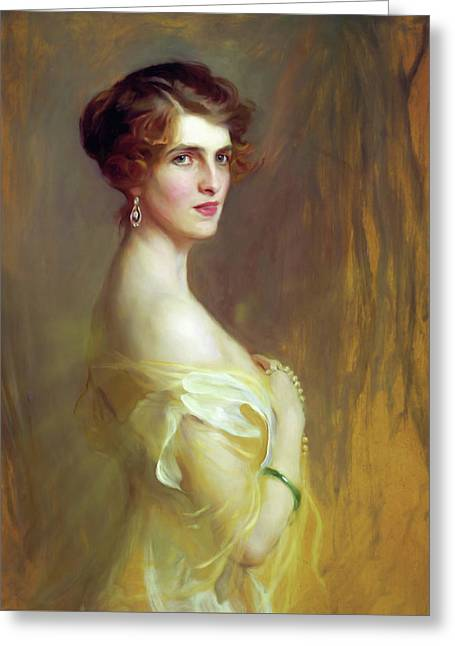 Portrait Of A Lady In Yellow Greeting Card