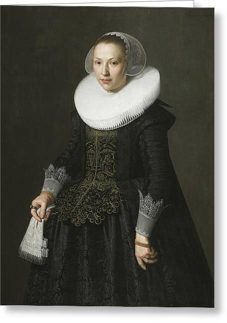 Ruff Greeting Cards - Portrait of a Lady Greeting Card by Nicolaes Eliasz