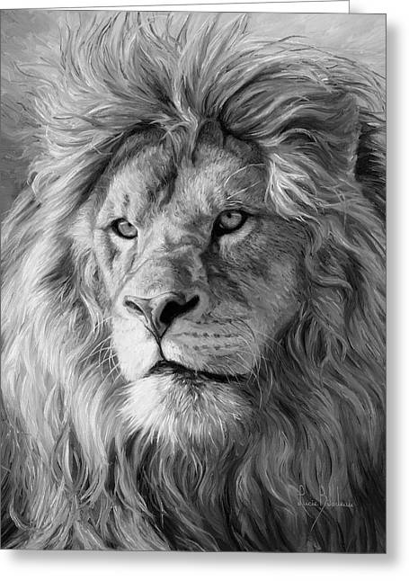 Portrait Of A Lion - Black And White Greeting Card