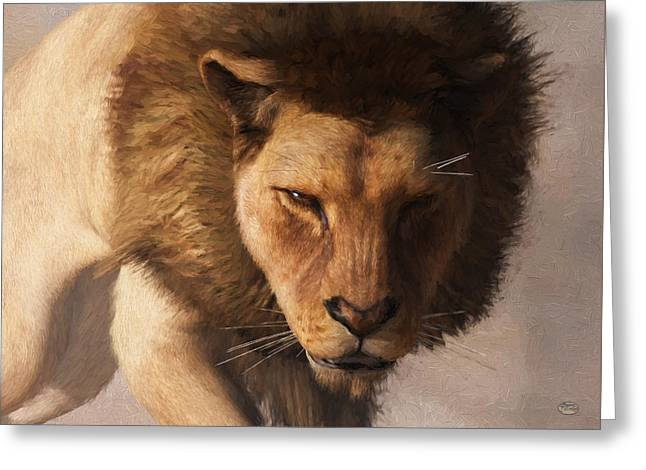 Greeting Card featuring the digital art Portrait Of A Lion by Daniel Eskridge