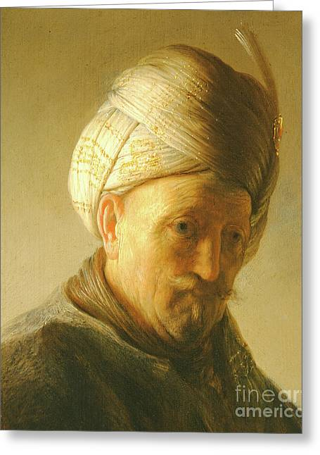 Portrait Of A Man In A Turban Greeting Card by Rembrandt