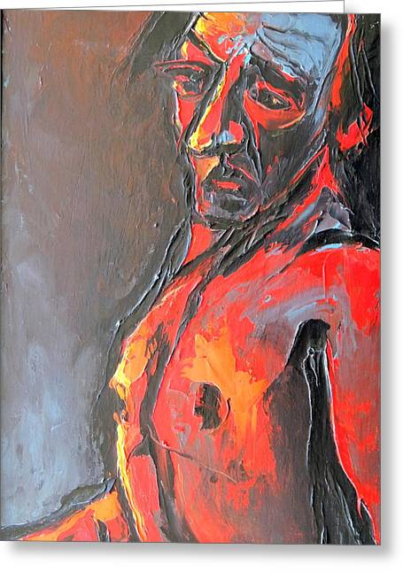 Greeting Card featuring the painting Portrait Of A Man by Kenneth Agnello