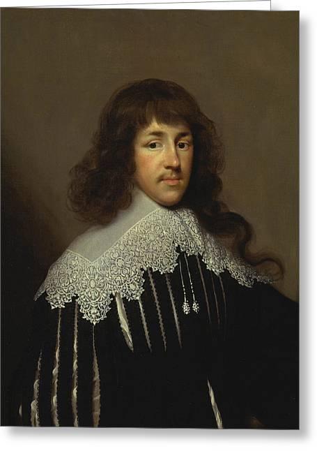 Portrait Of A Man, Probably Sir Francis Godolphin Greeting Card by Cornelius Johnson