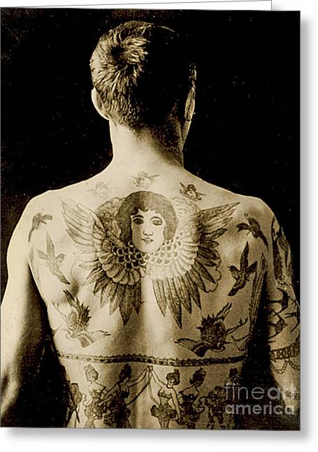 Portrait Of A Man With An Elaborate Back Piece Tattoo Greeting Card