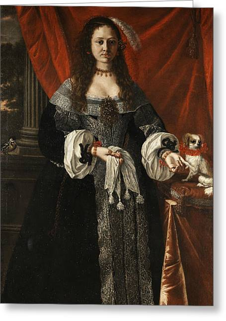 Portrait Of A Noble Lady With Dog Greeting Card by Pierfrancesco Cittadini