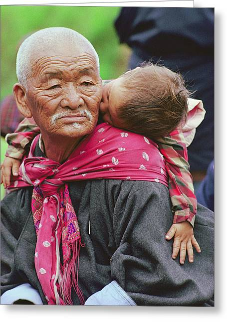Portrait Of A Senior Bhutanese Man Greeting Card by James L. Stanfield