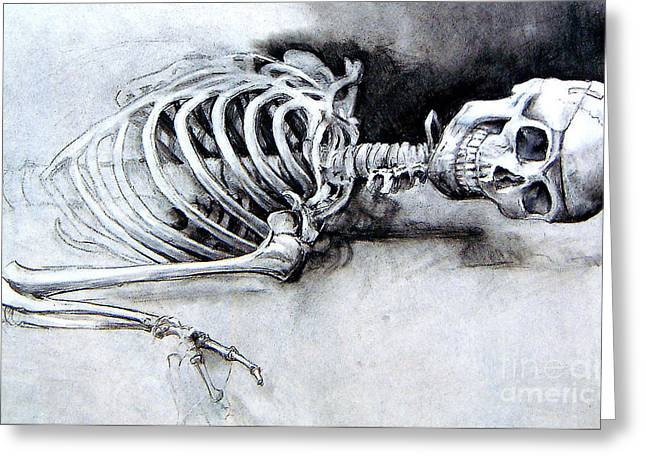 Greeting Card featuring the drawing Portrait Of A Skeleton by Linda Shackelford