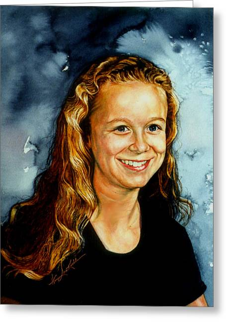 Portrait Of A Teen Girl Greeting Card by Hanne Lore Koehler