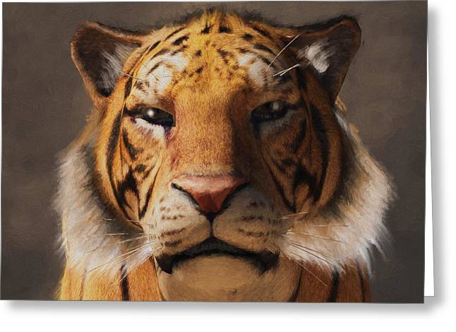 Greeting Card featuring the digital art Portrait Of A Tiger by Daniel Eskridge