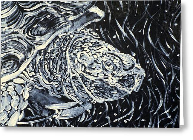 Greeting Card featuring the painting Portrait Of A Turtle by Fabrizio Cassetta