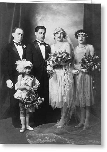 Portrait Of A Wedding Party Greeting Card by Underwood Archives