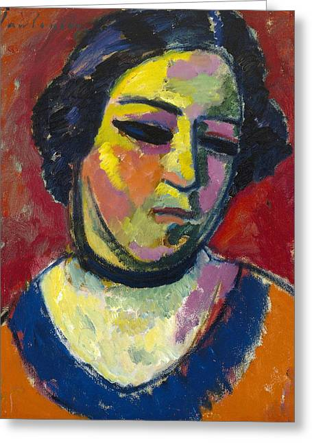 Portrait Of A Woman Greeting Card by Alexej von Jawlensky