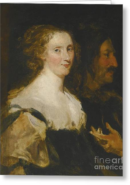 Portrait Of A Woman And An Officer Greeting Card