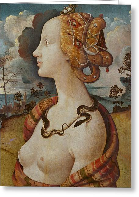 Portrait Of A Woman Called Simonetta Vespucci Greeting Card by Piero di Cosimo