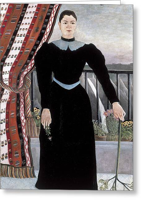 Portrait Of A Woman Greeting Card by Henri Rousseau