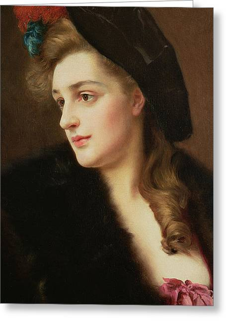 Portrait Of A Woman In A Hat Greeting Card by Gustave Jacquet