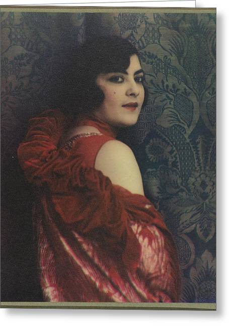 Portrait Of A Woman In A Red Dress, Jacob Merkelbach, 1920 - 1930 Greeting Card