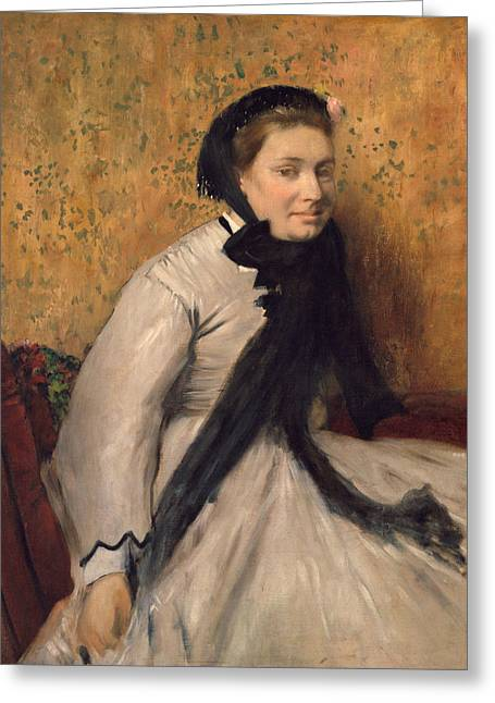 Portrait Of A Woman In Gray Greeting Card by Edgar Degas