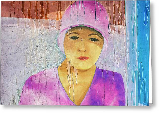 Portrait Of A Woman On A Downtown Wall Greeting Card