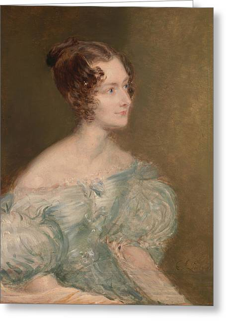 Portrait Of A Woman, Probably Mrs. Price Of Rugby Greeting Card by John Linnell