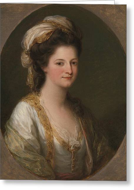Portrait Of A Woman, Traditionally Identified As Lady Hervey Greeting Card by Angelica Kauffman