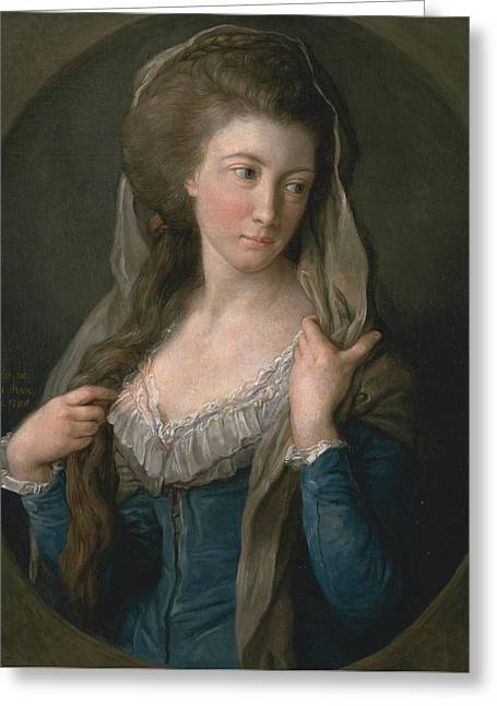 Portrait Of A Woman, Traditionally Identified As Margaret Stuart, Lady Hippisley Greeting Card by Pompeo Batoni