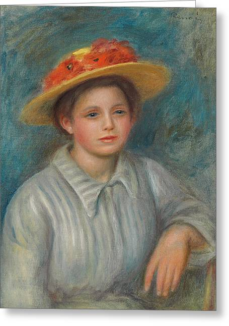 Portrait Of A Woman With A Hat With Flowers Greeting Card by Pierre Auguste Renoir
