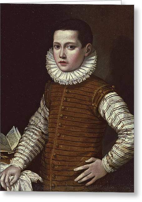 Portrait Of A Young Boy Half Length His Hand Resting On A Ledge Beside An Open Book Greeting Card by Gervasio Gatti
