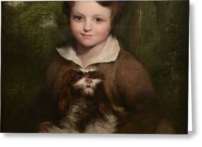 Portrait Of A Young Boy Holding A Dog Greeting Card by Richard Rothwell
