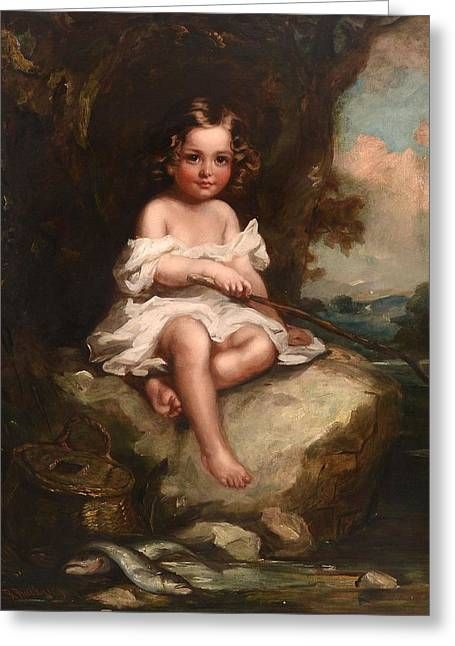 Portrait Of A Young Boy Sitting On A Rock Fishing Greeting Card by Richard Buckner