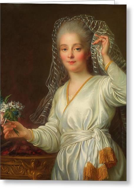 Portrait Of A Young Girl As A Vestal Virgin Greeting Card by Francois Drouais