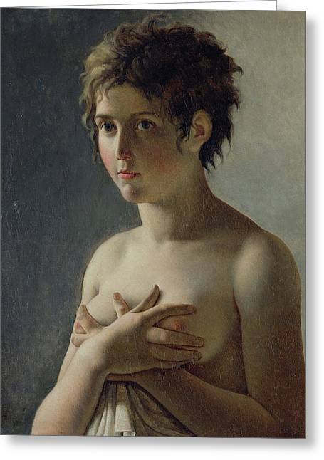 Short Hair Greeting Cards - Portrait of a Young Girl Greeting Card by Baron Pierre Narcisse Guerin