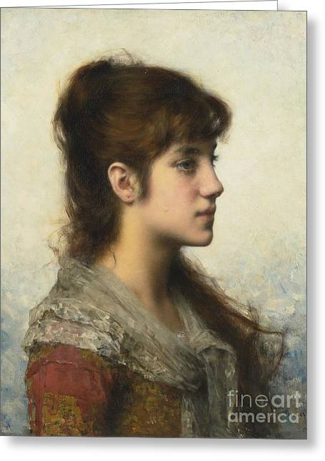 Portrait Of A Young Girl In Profile Greeting Card by Celestial Images