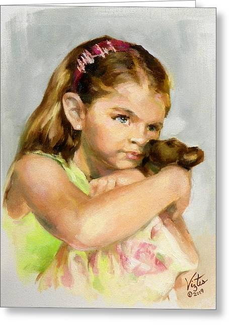 Portrait Of A Young Girl With Toy Bear Greeting Card by Liz Viztes