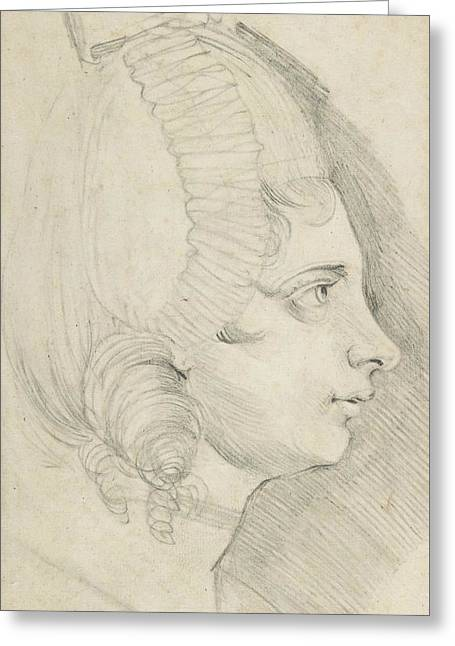 Portrait Of A Young Lady Drawn In Left Profile Greeting Card