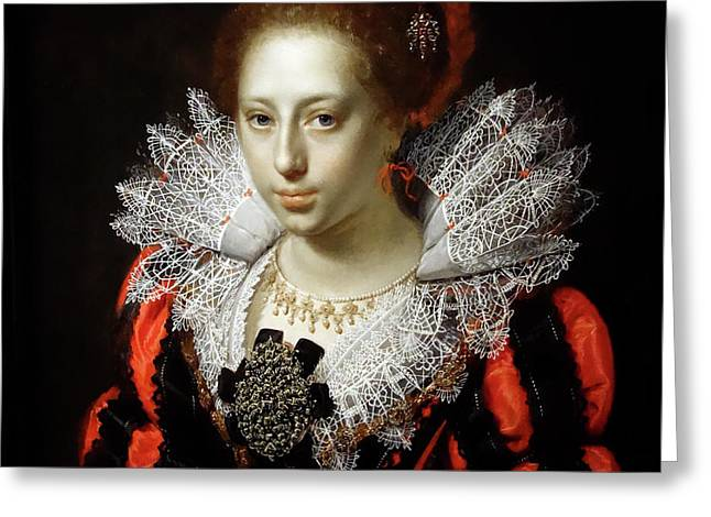 Portrait Of A Young Lady  - Paulus Moreelse  1620 Greeting Card