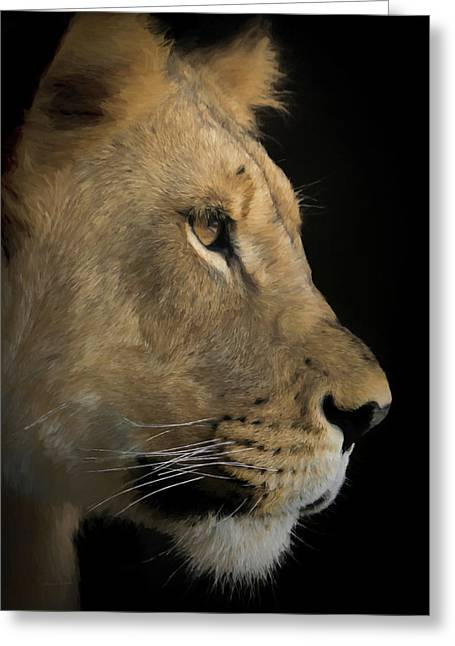Greeting Card featuring the digital art Portrait Of A Young Lion by Ernie Echols