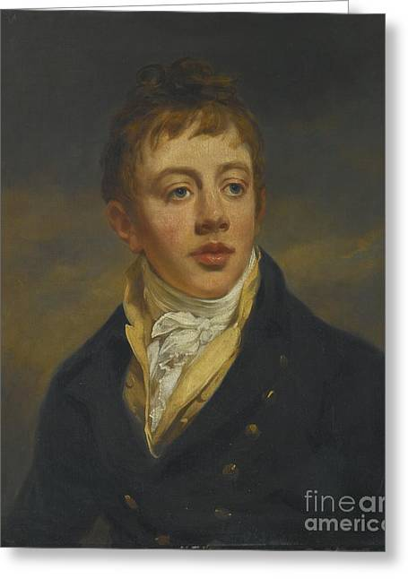 Portrait Of A Young Man In A Blue Coat Greeting Card