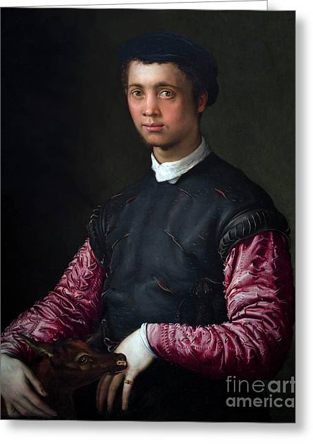 Portrait Of A Young Man With A Fawn, By Francesco Salviati, Circ Greeting Card by Peter Barritt