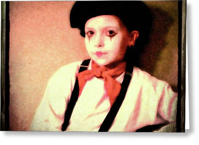 Portrait Of A Young Mime Greeting Card