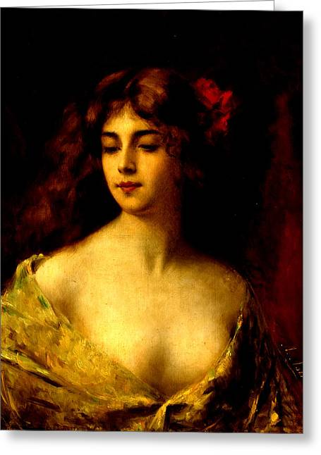 Portrait Of A Young Woman Greeting Card by Angelo Asti