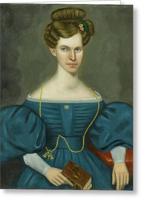 Portrait Of A Young Woman In A Blue Dress Greeting Card by Erastus Salisbury