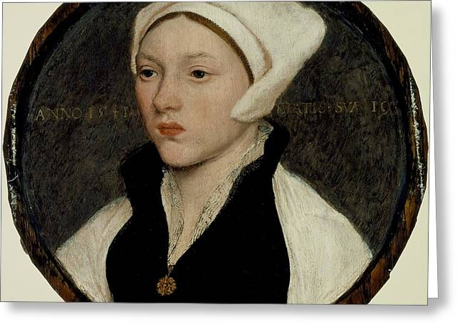 Portrait Of A Young Woman With A White Coif Greeting Card