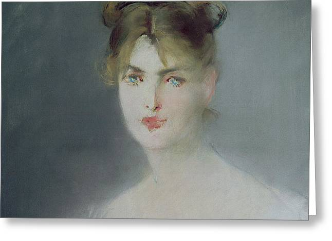 Portrait Of A Young Woman With Blonde Hair And Blue Eyes Greeting Card by Edouard Manet