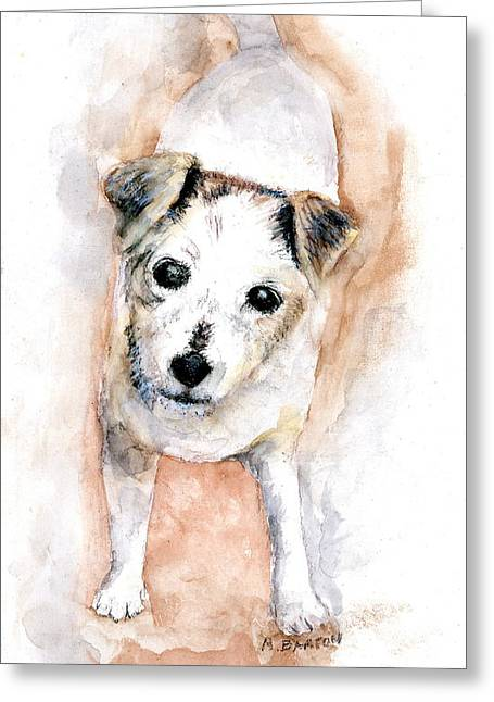 Portrait Of Abby - Jack Russell Terrier Greeting Card by Marilyn Barton