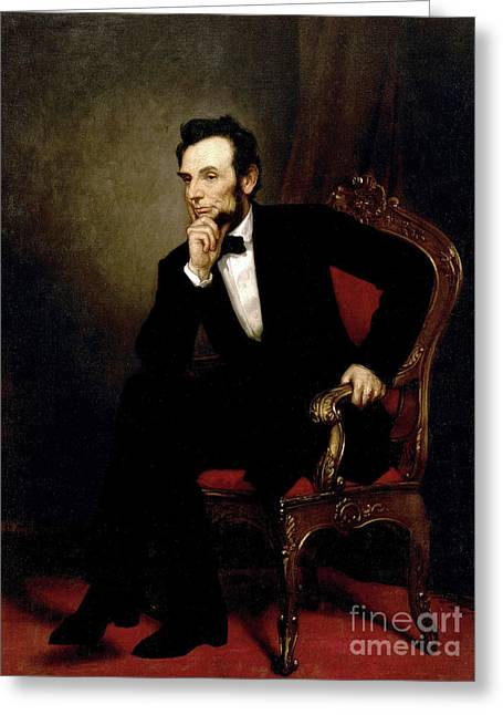 Portrait Of Abraham Lincoln, 1869  Greeting Card by George Peter Alexander Healy