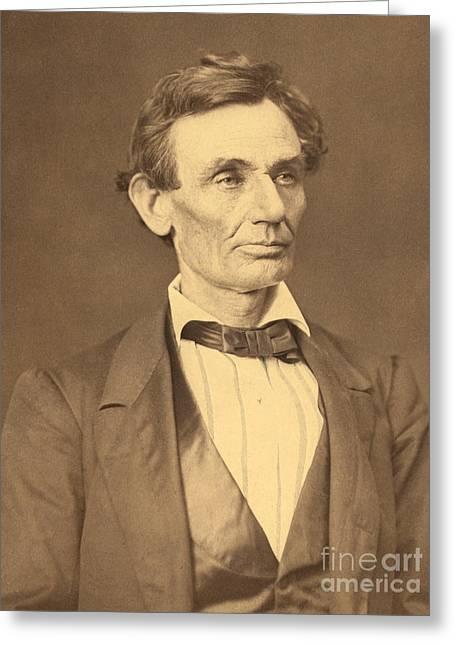 Portrait Of Abraham Lincoln Greeting Card by Alexander Hesler