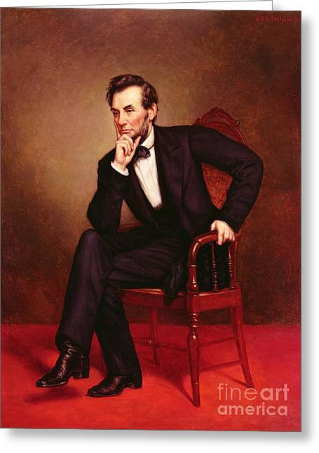 Black Man Paintings Greeting Cards - Portrait of Abraham Lincoln Greeting Card by George Peter Alexander Healy